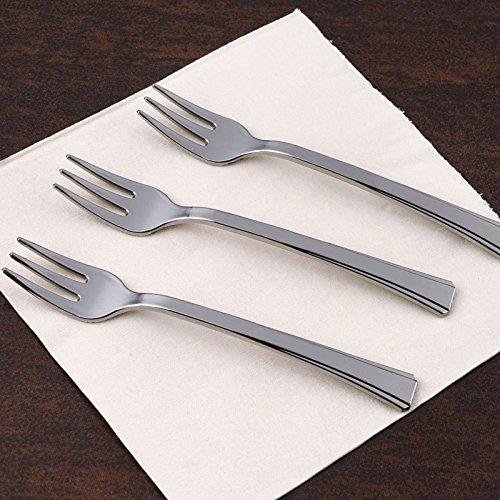 Efavormart 180 Pcs - 15 Disposable Plastic Silver Dessert Forks - Premiere Collection