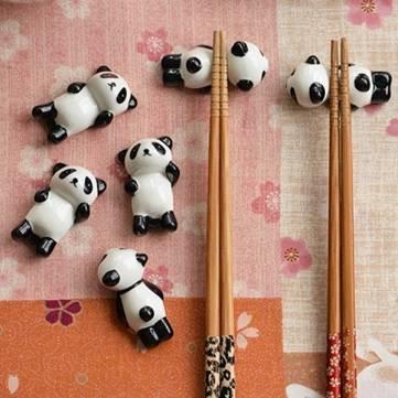 5Pcs Cartoon Panda Chopsticks Shelf Creative Ceramic Chopsticks Shelf