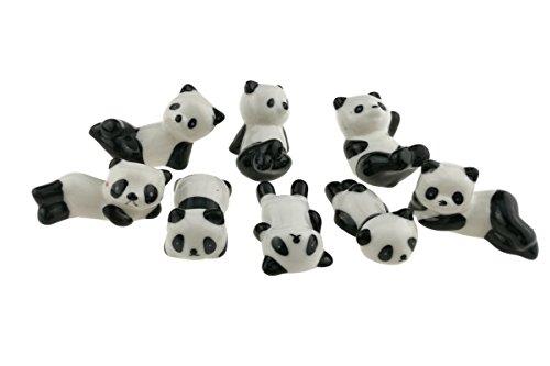 Winterworm 8pcslot Super Cute Black And White Ceramic Panda Chopsticks Stand Rest Rack Porcelain Spoon Fork Knife Holder Rack For Home Decoration