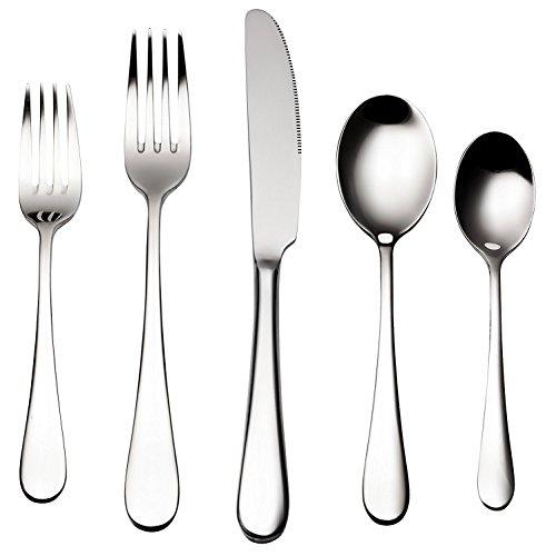 Bruntmor ALBA Silverware Royal 20 Piece Flatware Cutlery Set 1810 Stainless Steel Service for 4