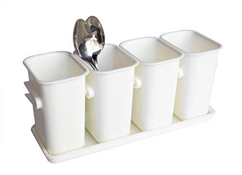 Honla FlatwareSilverware Caddy Holder with Plastic Tray Set-Interlocking Cutlery Drainer Organizer for Kitchen CountertopDining Table StorageWhite
