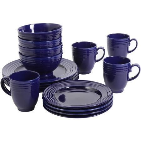 Elegant Microwave Safe Dishwasher Safe 16-Piece Dinnerware Set Cobalt 1