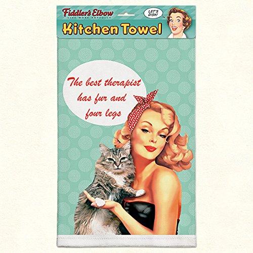 The Best Therapist Has Fur Four Legs-Cat Therapist 100 Cotton Eco-Friendly Dish Towel