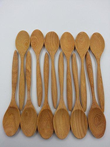 12pc Wooden Scoop Teaspoon Coffee Kitchen Cooking Condiment Utensil Spoon Set