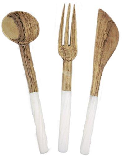 Maisha Fair Trade African Condiment Utensils Coffee  Sugar  Tea Scoop Utensils Carved Bone Teak Wood Handles