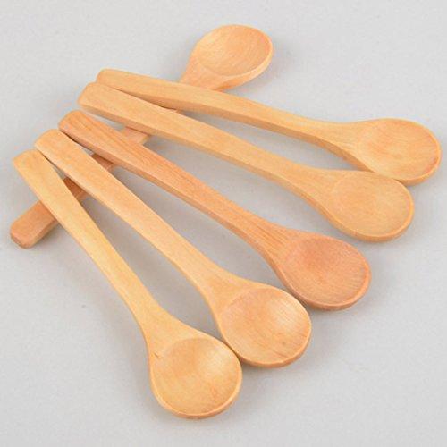 PER-HOME Mini Wooden Spoon Kitchen Cooking Teaspoon Condiment Utensil Coffee Spoon Kids Ice Cream Tableware Tool