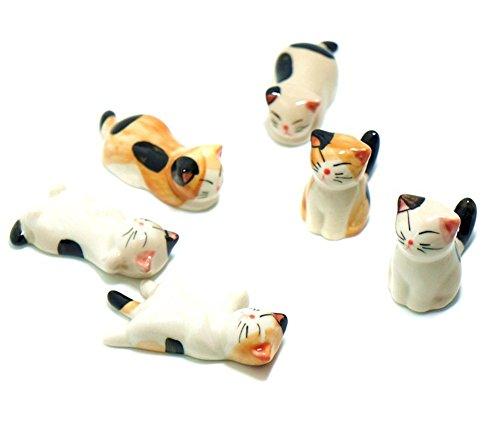 6 Pcs Cute Cat Porcelain Ceramic Chopsticks Rest Knife Rests Spoon Rest