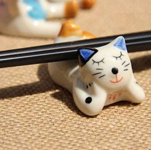 Cute Ceramic Cat Chopsticks Spoon Holder Rack by STCorps7