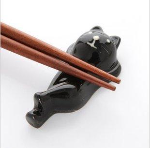 Humorous and cute porcelain Nesoberi black cat chopstick rest five set