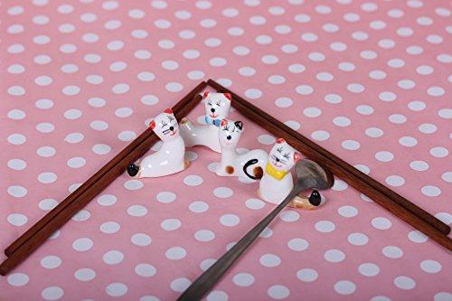 Japanese Ceramic Lucky Cat Panda Kitchen Chopsticks Rest Spoon Fork Knife Holder  5 Set of 4