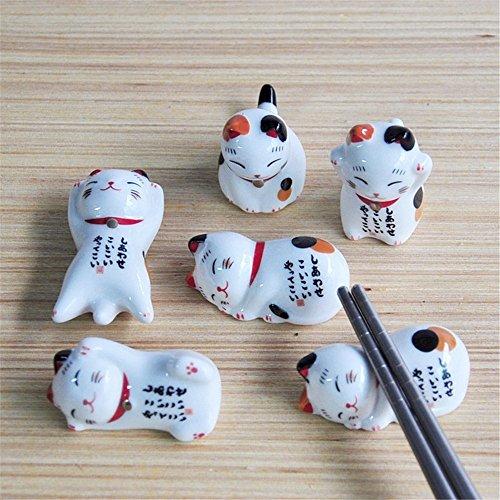 Lovely Cat Shape Chopsticks Holder Stand Ceramic Chopsticks Forks Holder Home Decoration Chopsticks Holder Set of 5