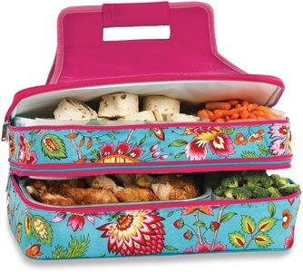Picnic Plus Entertainer Hot Cold Casserole Food Carrier 2 levels