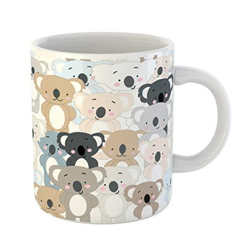 Emvency Coffee Tea Mug Gift 11 Ounces Funny Ceramic Vintage Cute Koala Bear Blue Grey Pastel Baby Teddy Cartoon Animal Pattern Gifts For Family Friends Coworkers Boss Mug