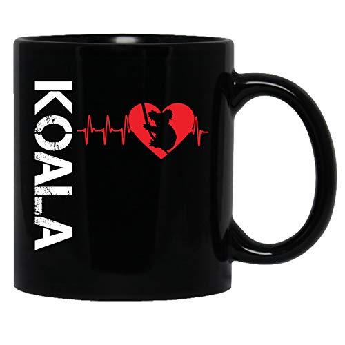 Koala Ceramic Mugs - Koala In My Heart Black Coffee Mug Teacup 11oz