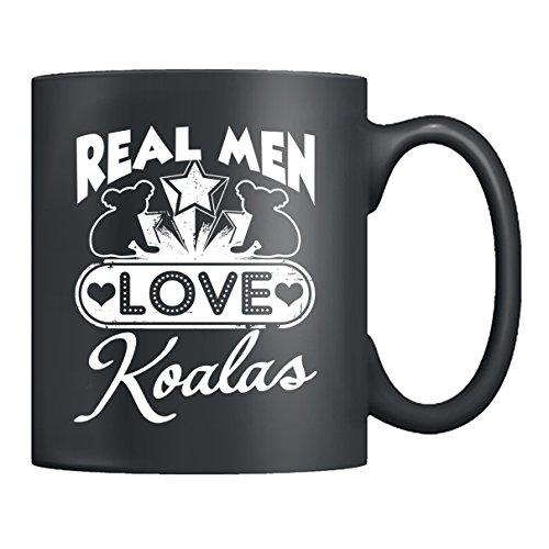 Koala Coffe Mug Ceramic - Real Men Love Koalas Mugs Tea Cup Black Mug 11oz For You And Your Family