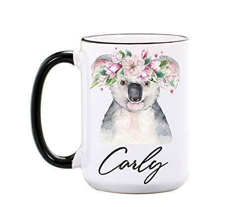 Koala Mug By Wimly - Personalized 15 oz or 11 oz Ceramic Mugs - Cute Koala Coffee Mug - Koala Gifts for Koala Lovers - Animal Cups - Koala Cup - Dishwasher