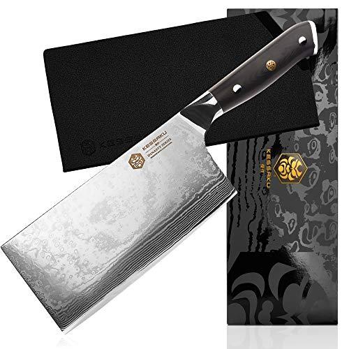 Kessaku Cleaver Butcher Knife - Damascus Dynasty Series - 67-Layer AUS-10V Japanese Steel - G10 Full Tang Handle 7-Inch