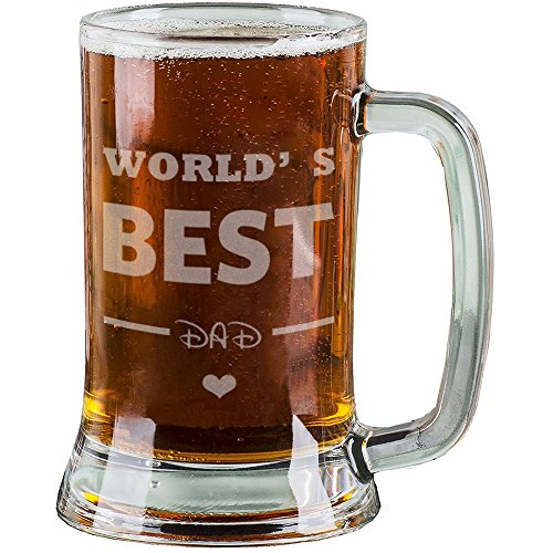 AnnaStoree 16 Oz Personalized Beer Mugs Etched Engraved with WORLDS BEST DAD Beer Mugs for Dad Gift