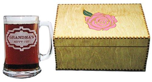 Grandmas Sippy Cup 15oz Beer Mug with Handle AND Wooden Keepsake Gift Box