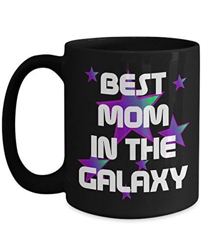 Best Mom in the Galaxy Coffee Mug Gift Black with Purple Stars
