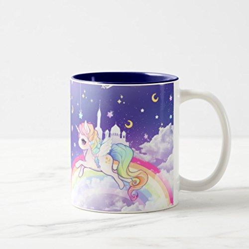 Zazzle Cute Kawaii Pastel Unicorn with Rainbow Galaxy Coffee Mug Navy Blue Two-Tone Mug 11 oz