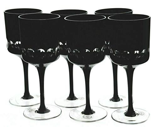 Ajka Black Magic Cut to Clear Wine Goblet Glasses Set of 6