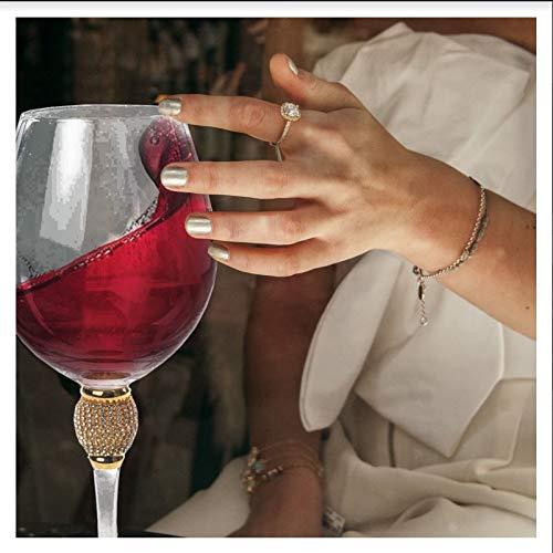 IMPULSE Gold Biarritz Diamond Wine Goblet Glasses Set of 6