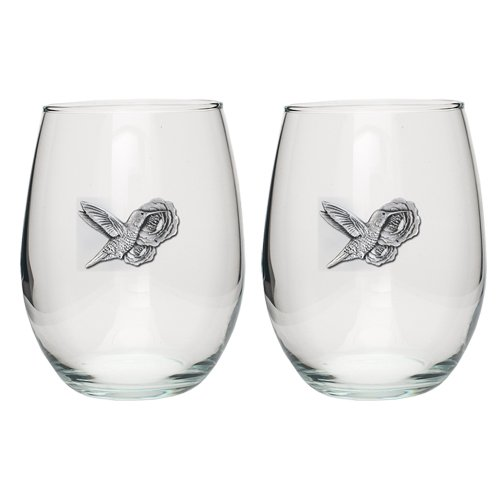 HUMMINGBIRDS SET OF TWO 15OZ GLASS STEMLESS WINE GOBLETS