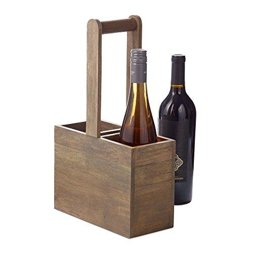 Design Ideas Verona Growler Tote 65 x 3 x 125 Wood Wine Holder Gray