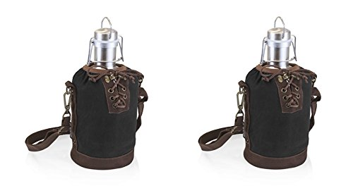 Picnic Time Growler Tote - Black and Brown with 64-oz Stainless Steel Growler Set of 2