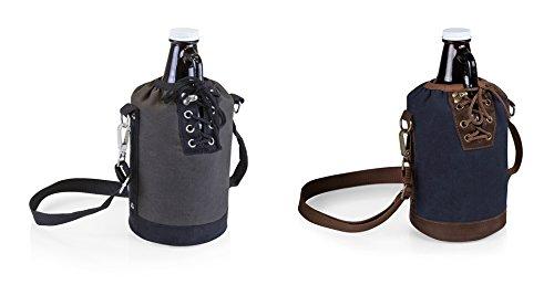 Picnic Time Growler Tote - GreyBlack and NavyBrown with 64-oz Glass Growler - Amber Set of 2