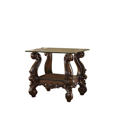 ACME Versailles End Table - 82101 - Cherry Oak Clear Glass