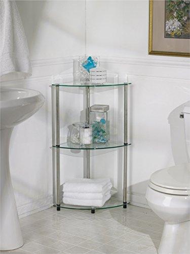 Convenience Concepts Designs2Go Go-Accsense 3-Tier Glass Corner Shelf Clear Glass
