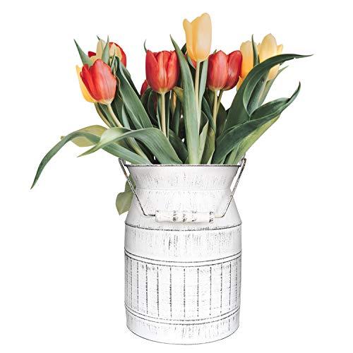 SHINGONE French Style Vase White Stripe Milk Jug Shabby Chic Metal Table Vase White Pitcher Vase Vintage Flower Basket for Home and Garden Decor