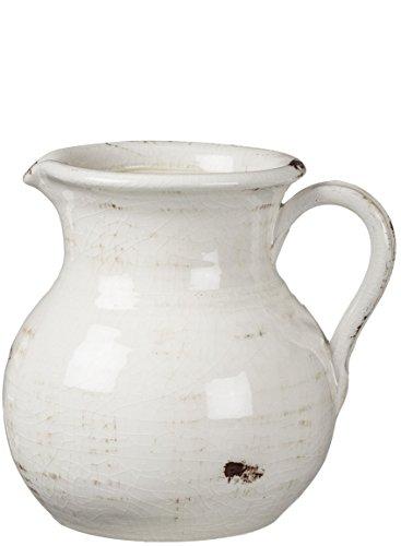 Sullivans White Ceramic Vase Distressed White Pitcher for Rustic Home Decor 8 x 9 Inches CM2515