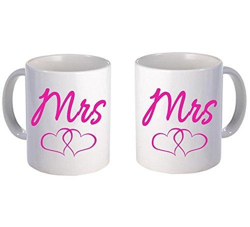 Mrs Mrs mug pair Couple Love Mug White Ceramic Novelty Coffee Mug 11 Oz Valentines Gift Cute Vintage Funny Lesbian