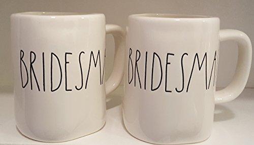 Rae Dunn BRIDESMAID LL White Ceramic Mug Pair