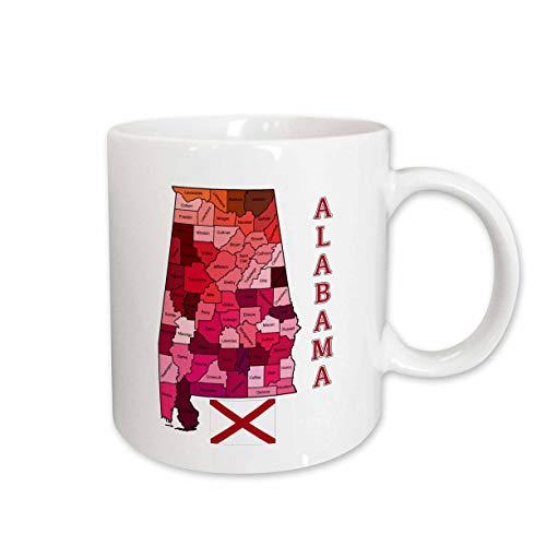 3dRose 171846_1 Map And Flag Of The State Of Alabama Shows Each County Ceramic Mug 11 oz White