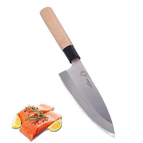Japanese Kitchen Deba Knife- 65 Inch Professional Sushi Chef KnifeStainless Steel BladeSuper Sharp StrongEasy to Sharpen with Wooden HandleGift BoX