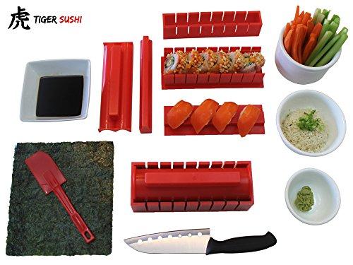 Sushi Making Kit Tigersushi Next Gen 11 Piece Sushi Set Sushi Rolling Kit With Sushi Chef Knife Utensils Making Sushi Rolls Fun and Easy-FDA Approved Making Sushi Rice and Sushi Bazooka Easy