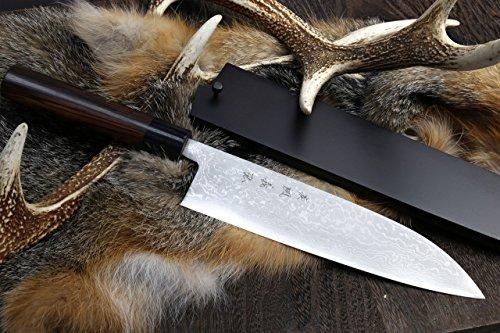 Yoshihiro Aokoblue Steel Suminagashi Damascus Wa Gyuto Japanese Sushi Chef Knife 95 Inch 240mm with Nuri Saya Cover