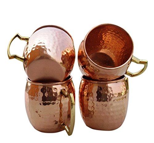 BLUE NIGHT Set of-4 Solid Copper Handmade Hammered Moscow Mule Mugs  Cups  Hammered Moscow Mule Copper Mug Capacity 16 OzCopper Mug  Cup