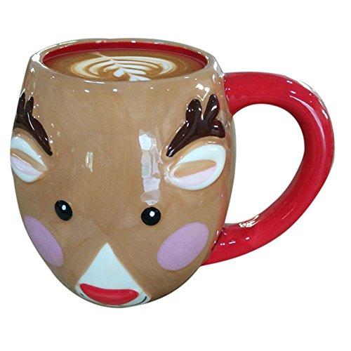 Coffee Mugs Ceramic Mugs Oval Christmas Mug with Handle Eco-friendly Healthy Drinkware Gift Cups Khaki Mouse Style