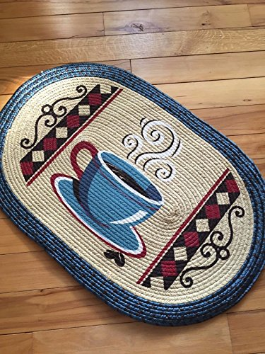Oval Coffee Mug Design Braided Country Kitchen Rug