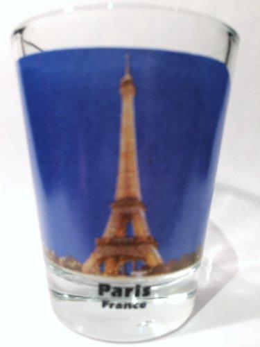 Paris France Eiffel Tower Night View Color Photo Shot Glass