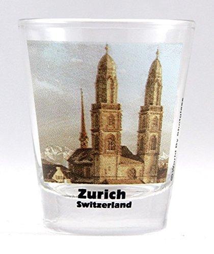 Zurich Switzerland The Grossmünster Church Color Photo Shot Glass