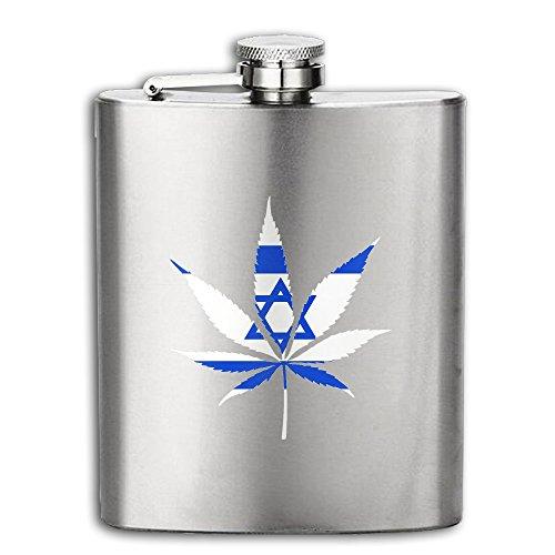 Israel Flag Weed Stainless Steel Pocket Flagon Shot Flask Hip Flask Wine Pot 8OZ
