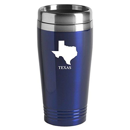 Texas-State Outline-16 oz Travel Mug Tumbler-Blue