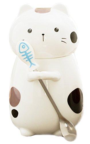 Cute Cartoon Ceramics Cat Shape Handwork Coffee Mug Water Cup with Lid and Spoon