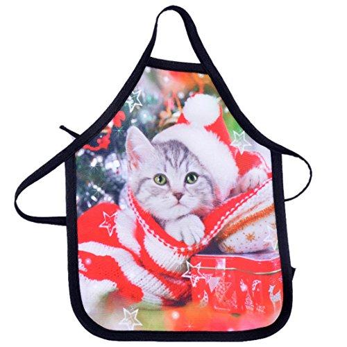 RainBabe Christmas Cat Wine Bottle Cover Mini Bottle Apron Home Christmas Kitchen Party Decor